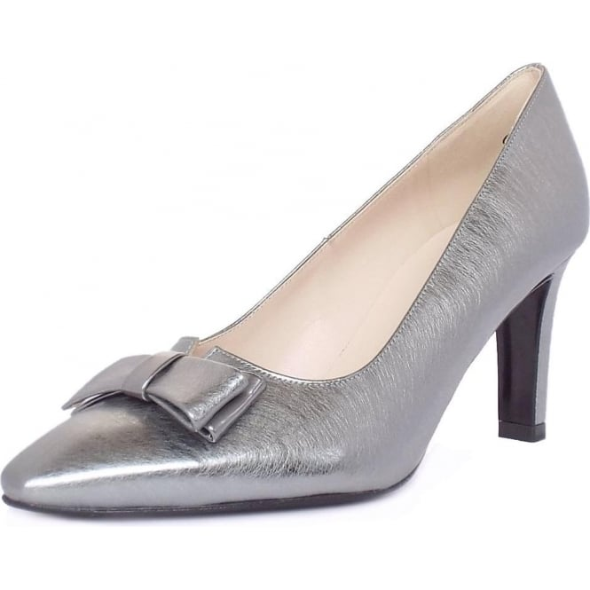 Peter Kaiser Tanja Women's Dressy Court Shoes in Brushed Effect Steel Silver Finish