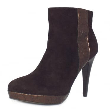 Peter Kaiser Tissi high heel ankle boots in brown suede