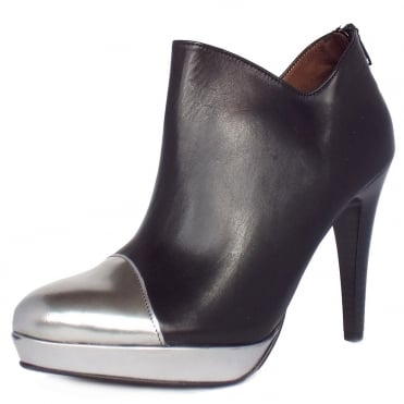 Toria Ankle Boots in Black Leather and Metallic Toe