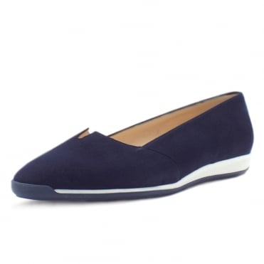 Valera Women's Smart Low Wedge Shoes in Notte Suede
