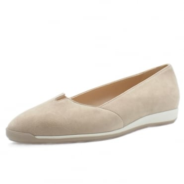 Valera Women's Smart Low Wedge Shoes in Sand Suede