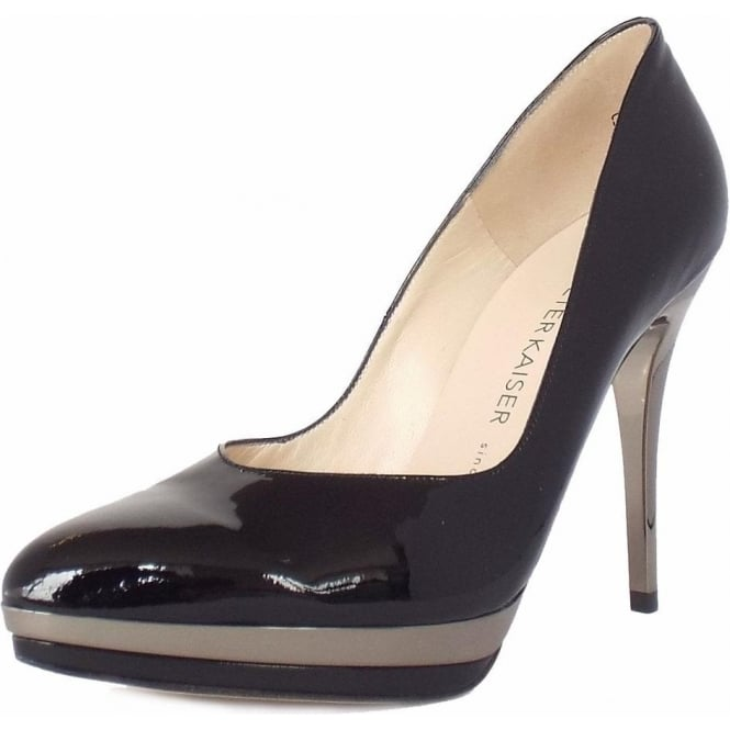 Peter Kaiser Vanessa High Heel Dressy Court Shoes in Black Patent