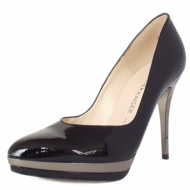 Vanessa High Heel Dressy Court Shoes in Black Patent