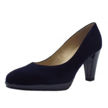 Velia Small Platform High Heel Court Shoes in Notte Suede
