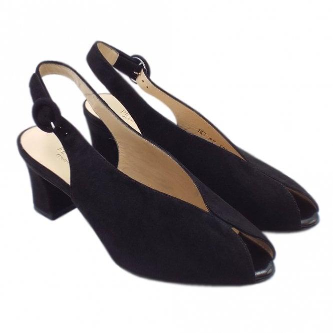 45d8580a7c3 Veronique Dressy Mid Heel Slingback in Black Suede