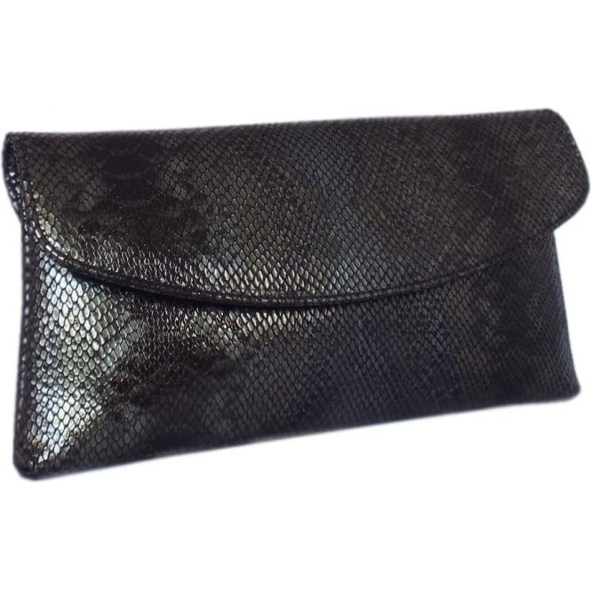 Peter Kaiser Winema Clutch Bag in Black Snake Print Leather