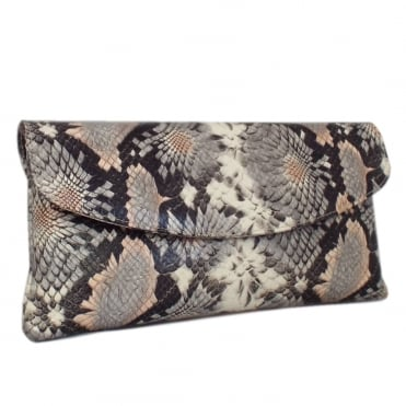Winema Clutch Bag in Powder Calendula Print Leather