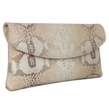 Winema Clutch Bag in Sabbia Femo Print Leather