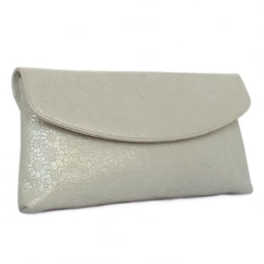 Peter Kaiser Winema Clutch Bag in White Gold Print Suede