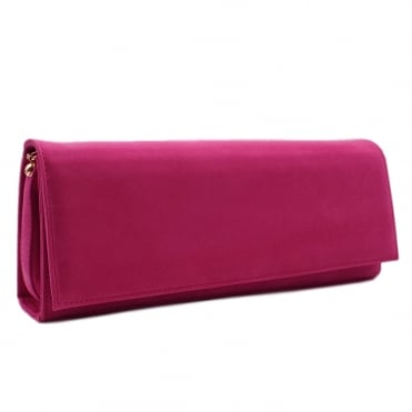 Winifred Evening Clutch Bag In Berry Suede