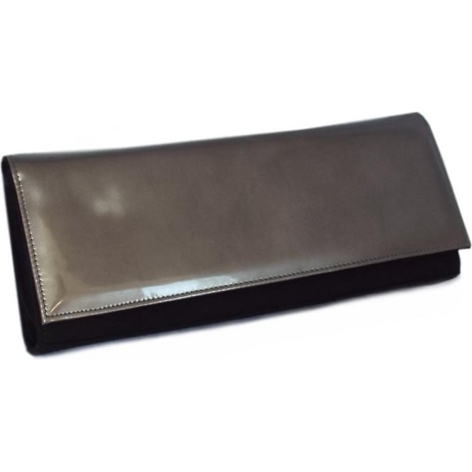 Peter Kaiser Winifred Evening Clutch Bag In Black Suede Fumo Iron Leather