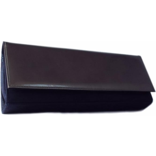 Peter Kaiser Winifred Evening Clutch Bag In Notte Suede and Fumo Iron Leather