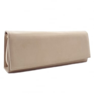 Winifred Evening Clutch Bag In Sand Suede