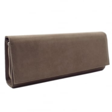 Winifred Evening Clutch Bag In Taupe Suede