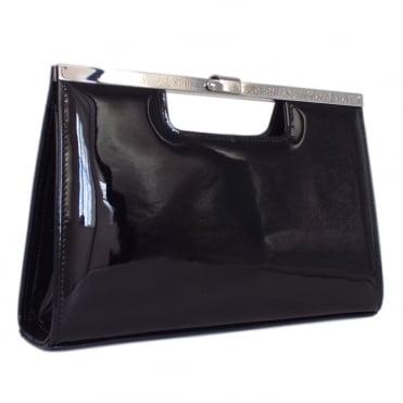 Wye Classic Evening Clutch Bag in Black Patent