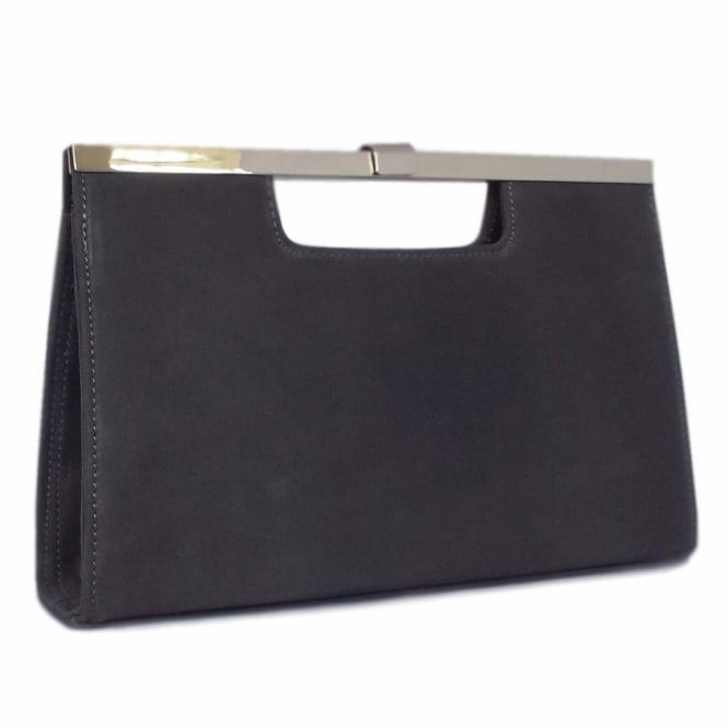 Peter Kaiser Wye Classic Evening Clutch Bag in Carbon Suede