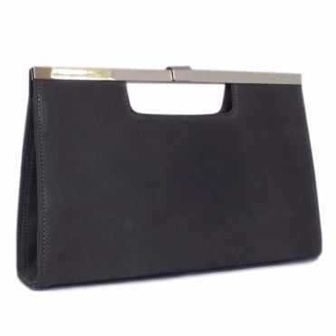 Wye Classic Evening Clutch Bag in Carbon Suede