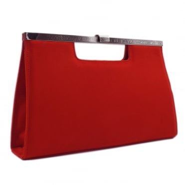 Wye Classic Evening Clutch Bag in Coral Red