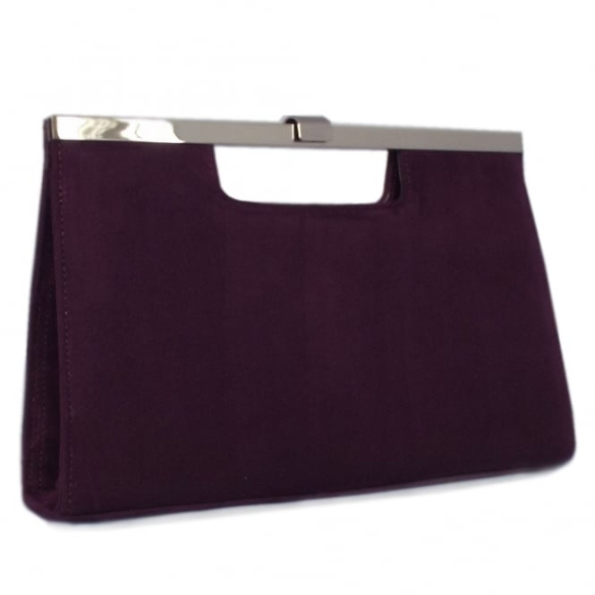 Peter Kaiser Wye Classic Evening Clutch Bag in Plum Suede