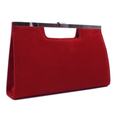 Wye Classic Evening Clutch Bag in Red Suede