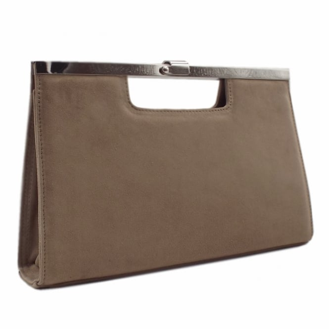 Peter Kaiser Wye Classic Evening Clutch Bag in Taupe Suede