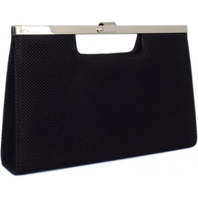 Peter Kaiser Wye Evening Bag in Black Speckle Suede