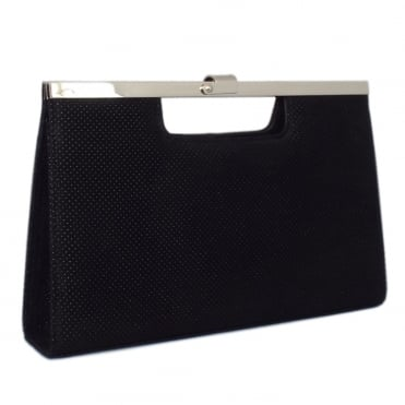 Wye Evening Bag in Black Speckle Suede