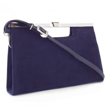 Wye Evening Bag in Navy Notte Suede