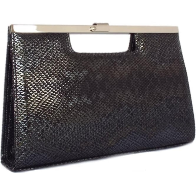 Peter Kaiser Wye Evening Clutch Bag In Black Snake Print Leather