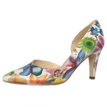 Petra Women's Pointed Toe Court Shoes in White Flower Print