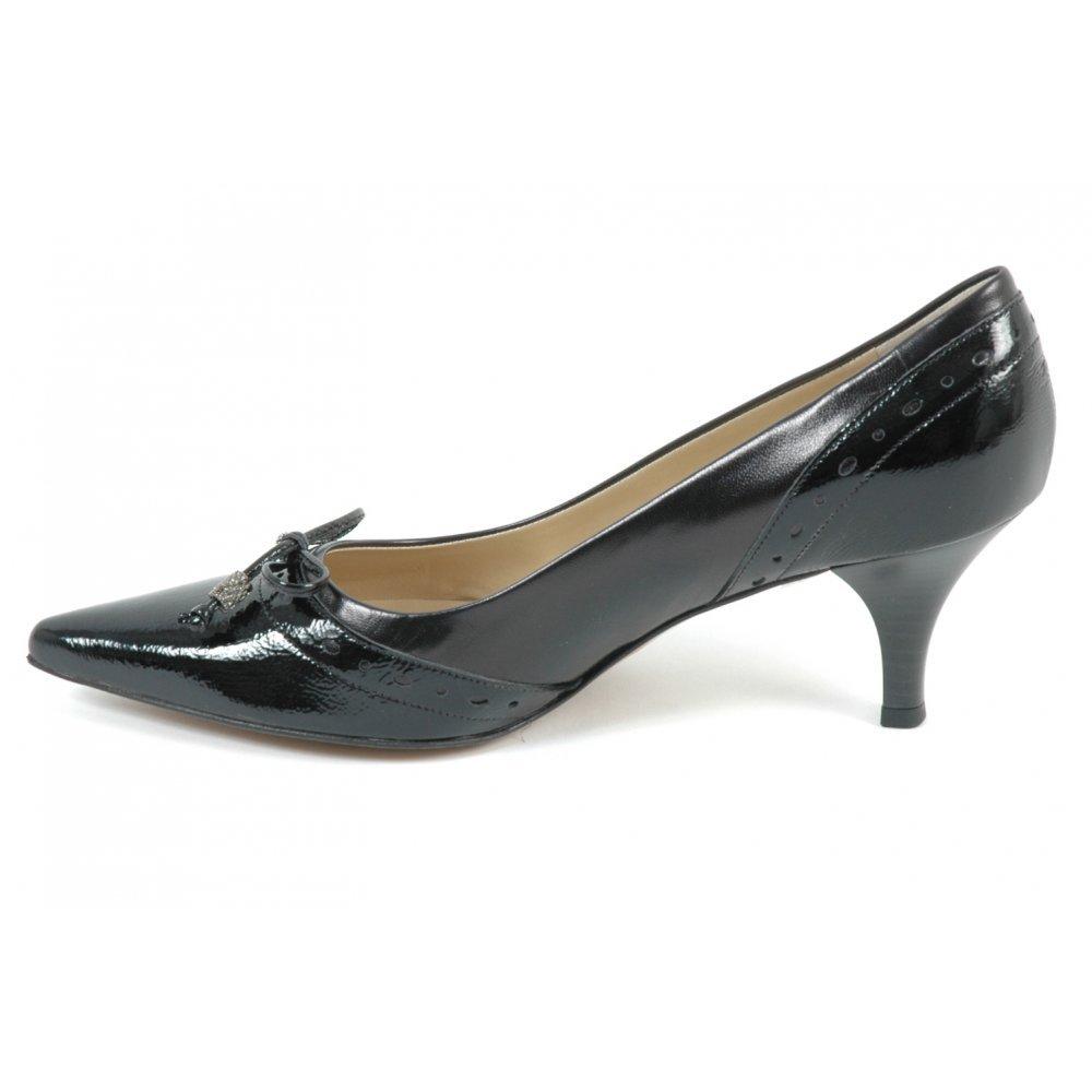 Ploen womens kitten heel shoes in black leather | Kitten heel ...