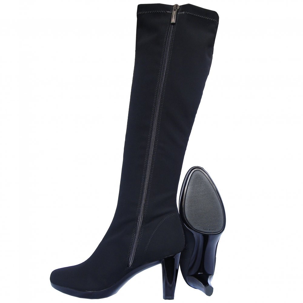 Nr Rapisardi Knee High High Heel Stretch Boots In Black