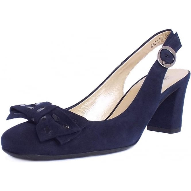 Peter Kaiser Presto   Ladies Black Suede Slingback Shoes