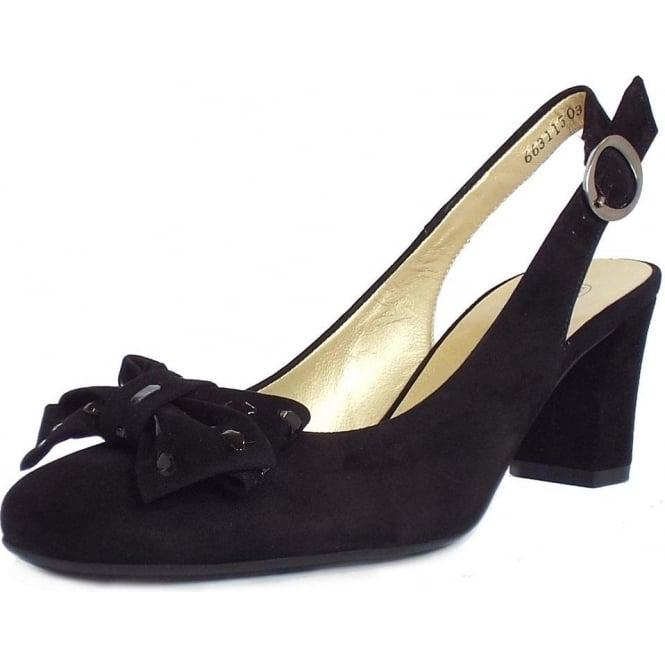 e3efc3f8b06 Peter Kaiser Presto Slingback Mid Heel Shoes in Black Suede