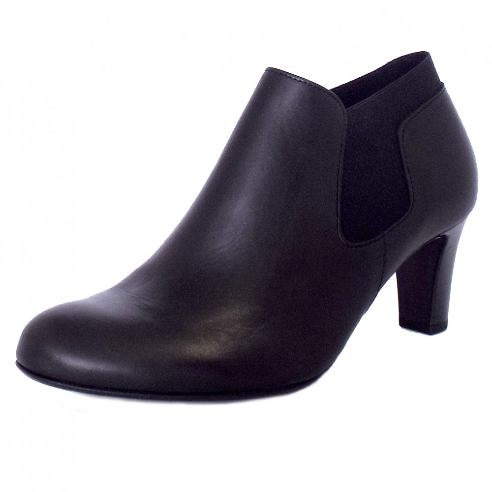 gabor pricilla mid heel ankle boots in black leather