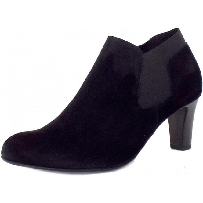 buy popular b38f9 a9391 Gabor Pricilla Modern Mid Heel Ankle Boots in Black Suede