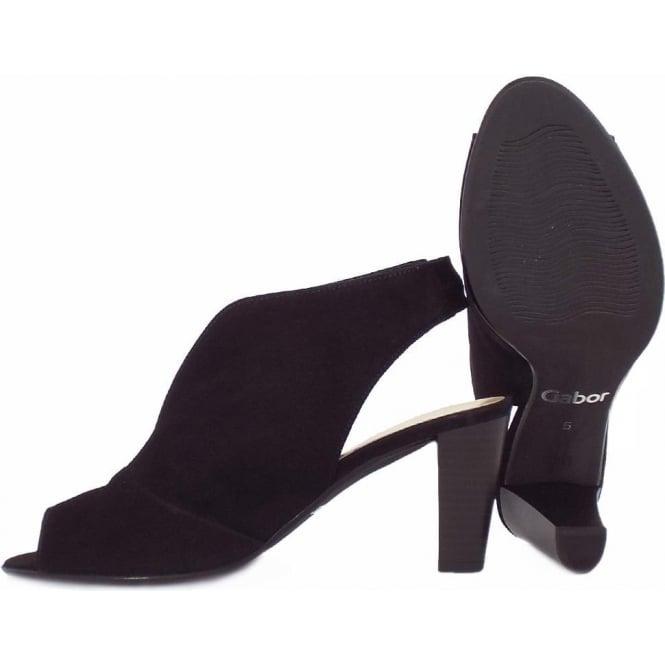 bcf4fe1c229 Gabor Range Women's Modern High Cut Mid Heel Sandals in Black Suede