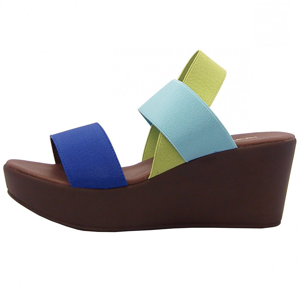 nr rapisardi 9245 wedge sandals in blue green and