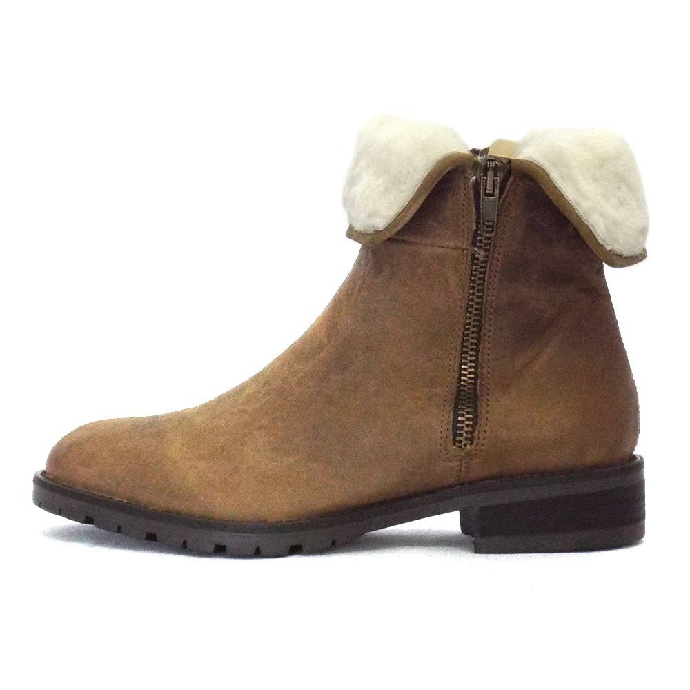 rapisardi tamarind ankle boot in soft leather and fur