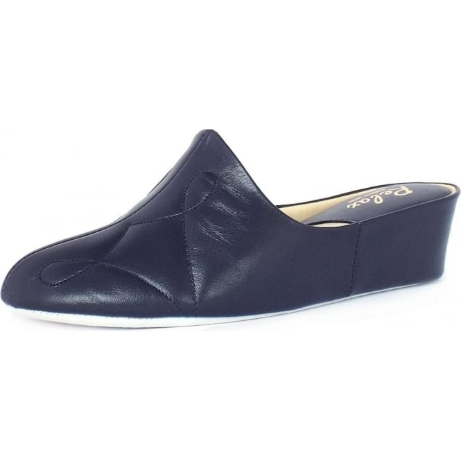 Relax Slippers Dulcie Luxurious Womens Dressy Slippers in Navy Leather