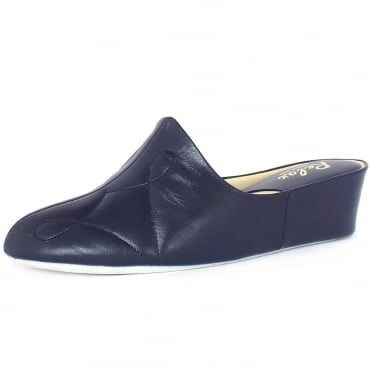 Dulcie Luxurious Womens Dressy Slippers in Navy Leather
