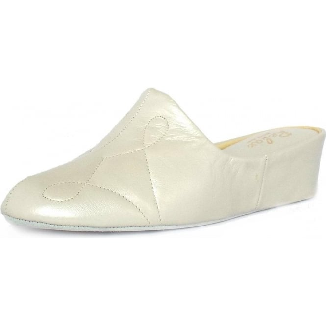 Relax Slippers Dulcie Luxury Dressy Slippers In Off-White Oyster Leather