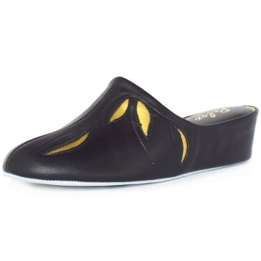 Molly Dressy Mid Wedge Slippers In Black And Gold Leather