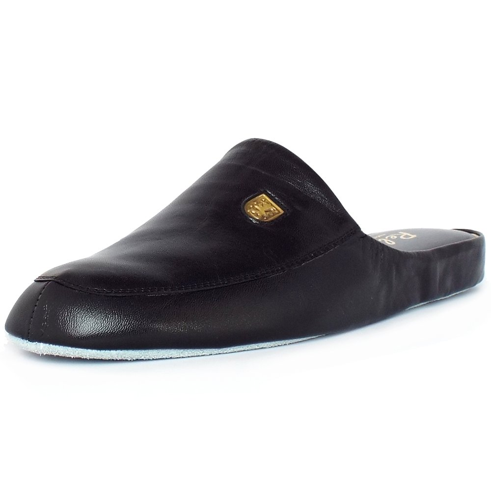Relax Slippers Williams | Menu0026#39;s Luxury Black Leather Slippers | Mozimo