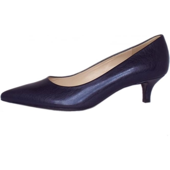 Peter Kaiser Renate | Pointed Toe Low Heel Shoes in Metallic Navy