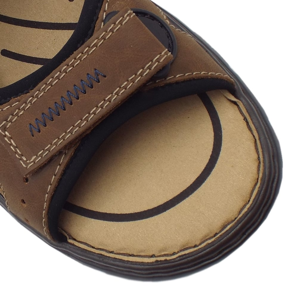 Rieker Basque Mens Sport Walking Sandals in Brown Leather