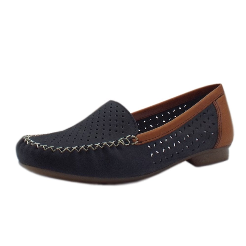 Rieker 40086 14 Yasmin Smart Casual Loafers in Blue & Tan