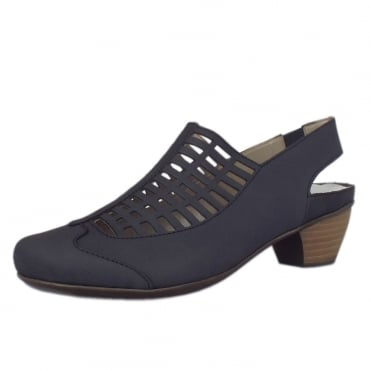 41371-14 Stafford Casual Low Heel Slingback Shoe in Navy Nubuck