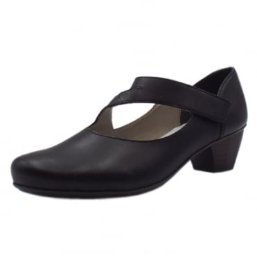 41793-00 Lugano Low Heel Ankle Strap Shoes in Black