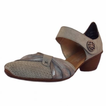 43721-41 Corvette Low Heel Ankle Strap Summer Shoes in Grey